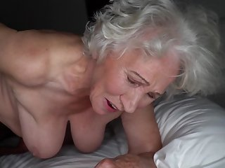 Grey-haired cunt of heavy granny gets pounded by young stud