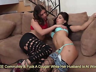 Kinky brunettes Victoria Lawson and Allie Jordan kissing and rubbing on siamoise