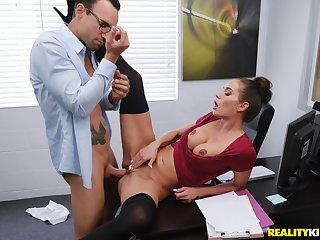 Sexy secretary Desiree Dulce enjoys sexual intercourse with her colleague in her office