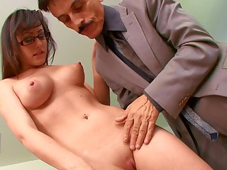 Old boss down a big cock gets head from his secretary