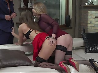 Smoking hot lesbian babes are fucked and jizzed overwrought hot blooded dude