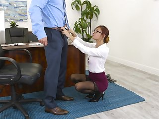 Hot sex action with seductive secretary Jade Jantzen and their way boss