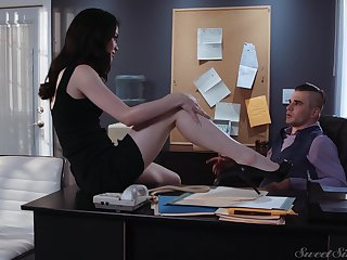 Sexy tall and quite leggy copyist Evelyn Claire is ready for office sex