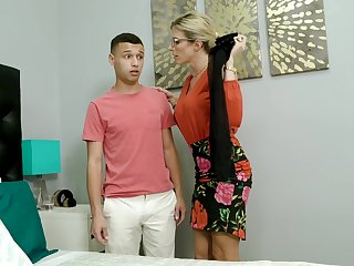 Perverted son sniffs lingerie of his stepmom Cory Pursue