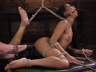 Gagged bondage black slut Kira Noir deserves quite hard masturbation