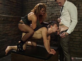 Bi-sexual lovers share a twink in dirty anal threesome