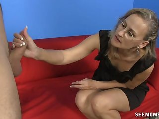 POV video of mature infant Valerie Rose with glasses giving aficionado