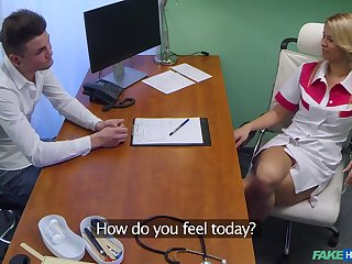 Sexy blonde nurse drops will not hear of uniform to have sex apropos a stud