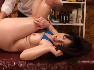 Bikini-clad Asian virago oiled with an increment of screwed by a skilled lover