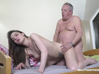 Senior man's energized dick suits this petite girl fat time