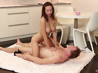 Busty young infant suits step daddy with first of all just massage