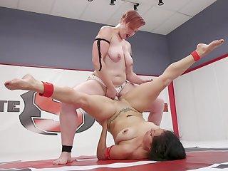 Mistress Kara and Izamar Gutierrez fighting and fucking with a strapon
