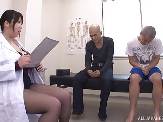 Heavy boobs Japanese Shizuku Amayoshi and two amateur dudes. HD