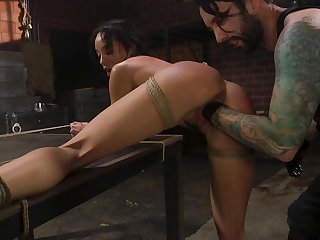 Real bondage slutty baneful sweetie Alexis Tae is roughcast fisted tonight