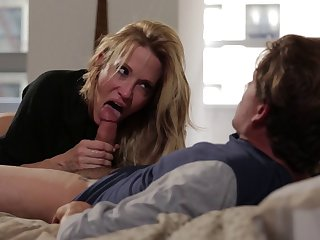 Cheating wife Jessica Drake takes a long cock in her mouth increased by pussy