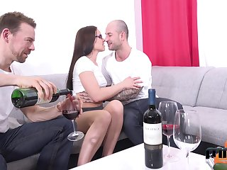 Two amateur guys fuck mouth, pussy with an increment of anus of Czech adult model Wendy Moon