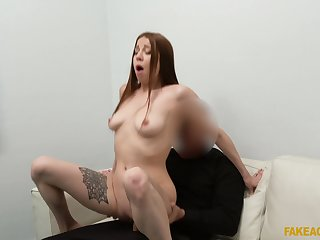 Full demand for the redhead on her first doff expel session