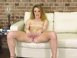Adorable blonde Kate Kennedy moans while carrying-on with a vibrator