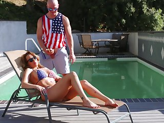 Hatter coitus by the pool nigh cheating wives, full compilation