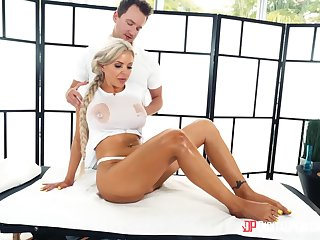Oiled back massage leads up passionate screwing in prone-bone - Nina Elle