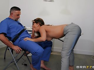 Liberality woman works the man's huge dong like a pro
