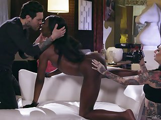Ana Foxxx's black chink is taken hard by a hung white lover
