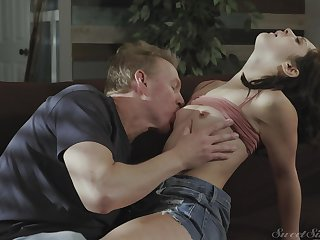 Slim beauty is faced with handling a pretty serious cock