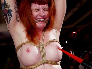 Naughty redhead Arabelle Raphael tortured neighbouring her friends