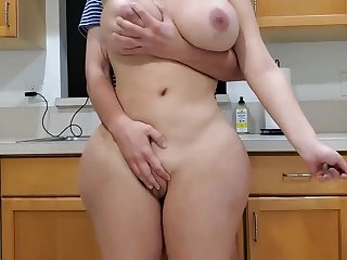 Scorching mother and sonny around kitchen