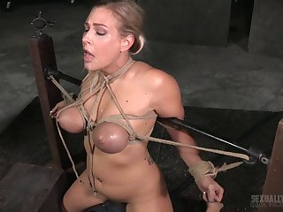 Hardcore mouth fucking by a white together with a black dude for Angel Allwood