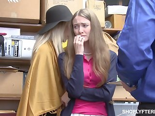 Grown-up woman and the brush stepdaughter get punished for shoplifting