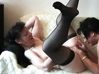 Grown up in stockings enjoy threesome
