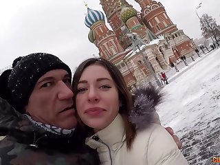 Hot Spanish supplicant Marco Banderas picks up Russian girl on high burnish apply Peppery Square