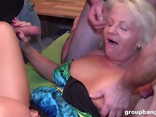 Video of a dirty granny getting fucked by lot of horny dudes
