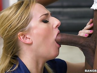 Hardcore interracial anal coitus with playful blondie Kate England