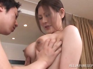 Messy creampie ending after awesome fucking with a Japanese cutie