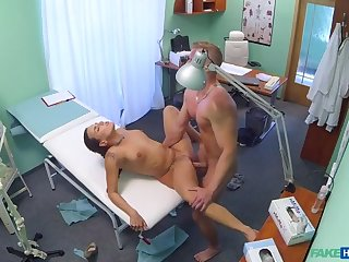 Despondent nurse gets a mouthful be incumbent on cum in the doctors office